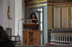 Ulla gestaltar Brita Olsdotter och berättar hennes historia.
